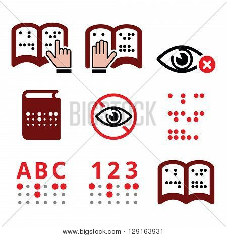 Blind people, Braille writing system icon set