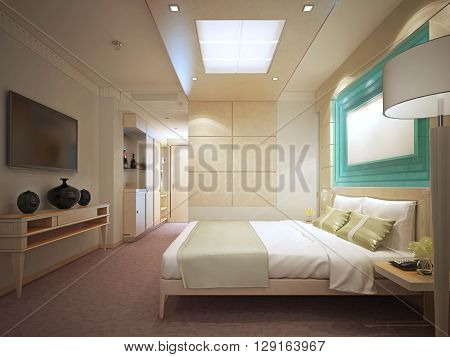 luxury bedroom in hotel. Panelled walls bright interior. 3D render