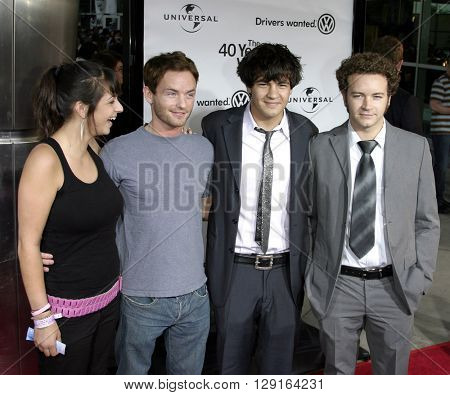 """Danny Masterson, Christopher Masterson, Jordan Masterson and Alanna Masterson at the Los Angeles premiere of """"The 40 Year-Old Virgin"""" held at the ArcLight Theatre in Hollywood, USA on August 11, 2005."""