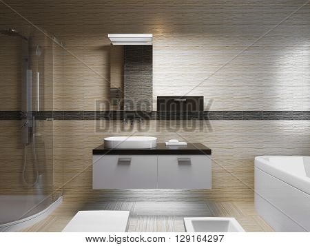 Beautiful bathroom interior evening light. Front view on sink console with mirror. 3D render