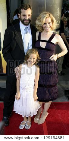 """Judd Apatow, Leslie Mann and daughter Maude at the Los Angeles premiere of """"The 40 Year-Old Virgin"""" held at the ArcLight Theatre in Hollywood, USA on August 11, 2005."""