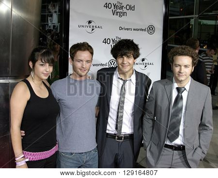 "Alanna Masterson, Chris Masterson, Jordan Masterson and Danny Masterson at the Los Angeles premiere of ""The 40 Year-Old Virgin"" held at the ArcLight Theatre in Hollywood, USA on August 11, 2005."