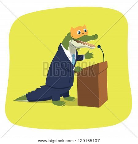Vector illustration of a crocodile pretending a cute kitten while giving a speech at a tribune. Political caricature. The mask is on a separate layer and can be easily removed in eps file.