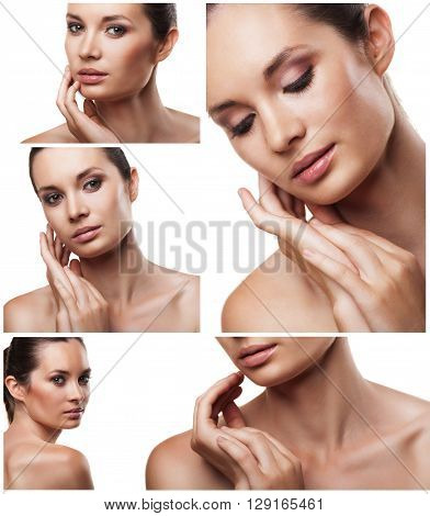 Set of portraits of beautiful young woman with flawless skin in different perspectives isolated on white background