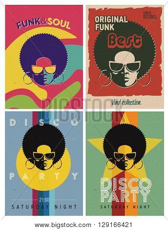Disco party event flyers set. Collection of the creative vintage posters. Vector retro style template. Black woman in sun glasses.
