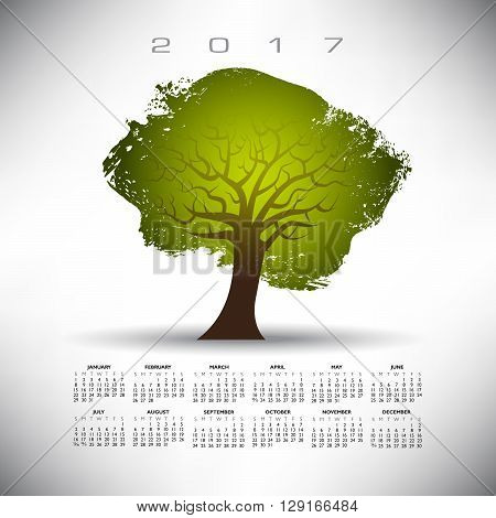 2017 Abstract tree calendar on a gray background