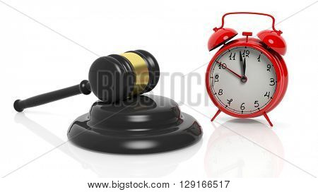 3D rendering of gavel and red alarm clock, isolated on white background.