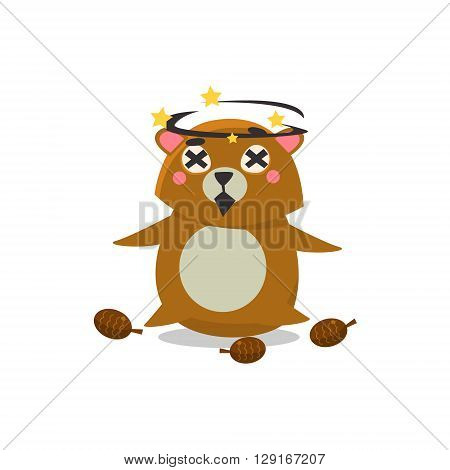 Dizzy Brown Bear Flat Primitive Geometric Design Vector Icon Isolated On White Background