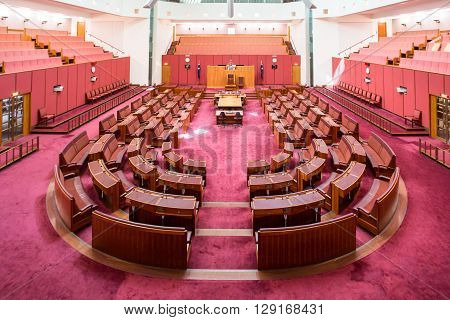 CANBERRA, AUSTRALIA - MAR 25, 2016: Interior view of  the Australian Senate in Parliament House, Canberra, Australia