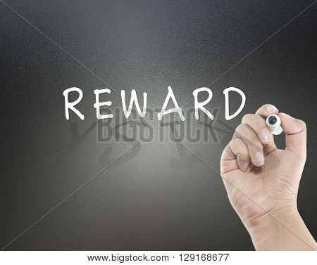 Reward and risk in shadow with hand writing