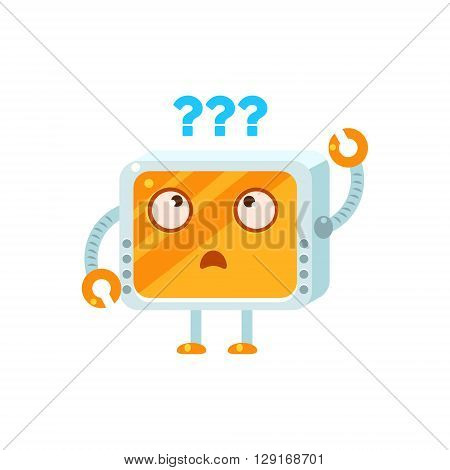 Puzzled Little Robot Emoji Simple Flat Vector Icon In Childish Cute Style Isolated On White Background