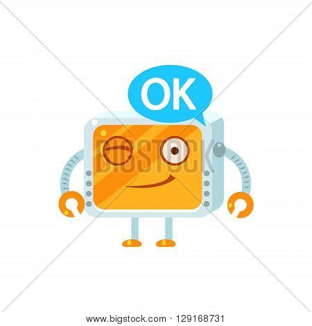 Agreeing Little Robot Emoji Simple Flat Vector Icon In Childish Cute Style Isolated On White Background