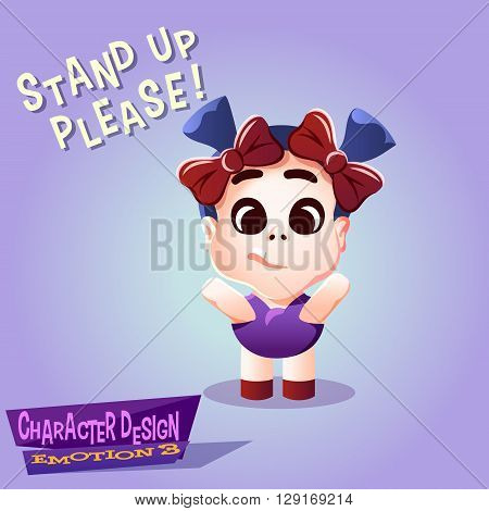Little Kid with pigtails bows and tooth waving her arms. Calm cute and funny Tot with hands raised isolated vector illustration.