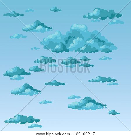Fluffy clouds on an overcast day. Vector.