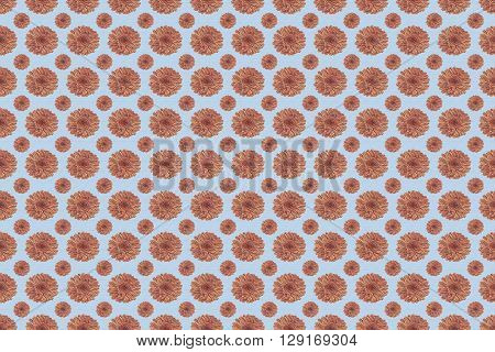 Abstract Seamless pattern of flowers in rose quarts and serenity blue colors