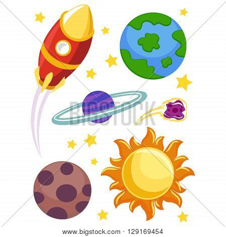 Vector Illustration of Outer Space Elements Planets