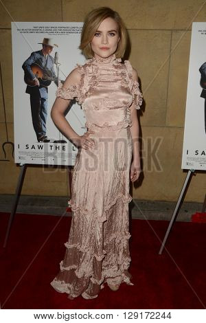 LOS ANGELES - MAR 22:  Maddie Hasson at the I Saw the Light LA Premiere at the Egyptian Theatre on March 22, 2016 in Los Angeles, CA