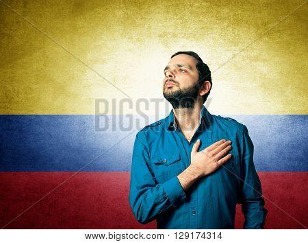 patriot man of Colombia standing closeup portrait