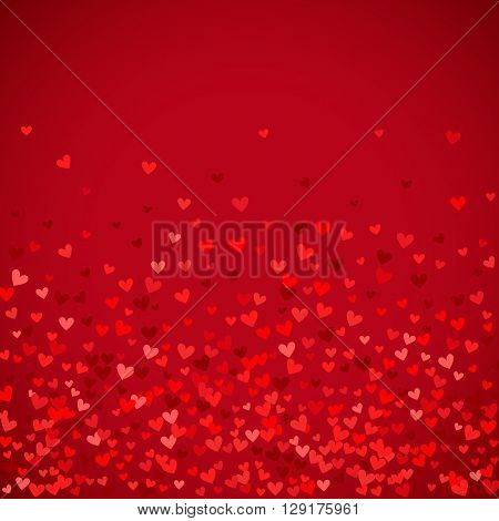 Romantic red heart background. illustration for holiday design. Many flying hearts on red background. For wedding card, valentine day greetings, lovely frame.