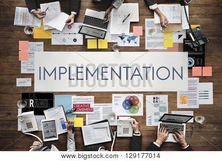 Implementation Accomplish Installing Perform Concept poster