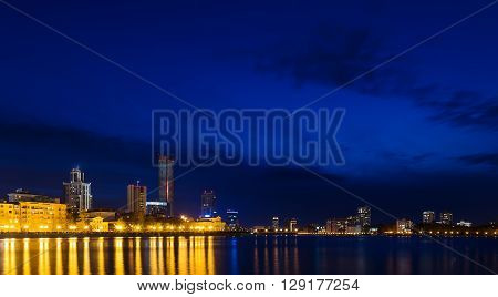 night over the city center and summer pond Yekaterinburg
