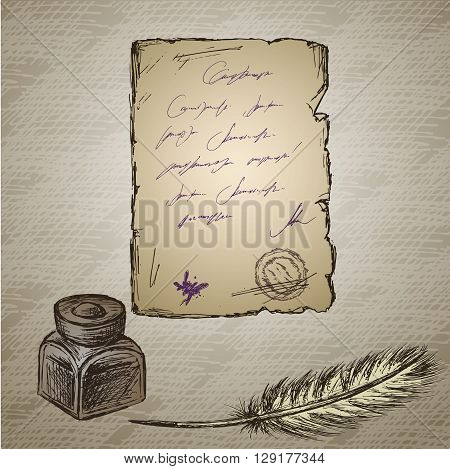 Goose feather elegant old-fashioned decorative inkpot old paper with inscription. Vintage background. Hand drawn vector