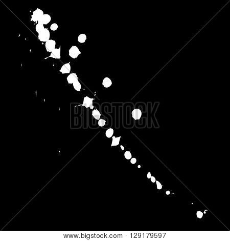 Artistic white paint hand made creative wet dirty ink or oil drop spots silhouette isolated on black background
