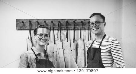 Couple Partner Craftsman Indoor Working Concept