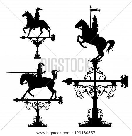 weather vane collection - knights riding horses vector design set