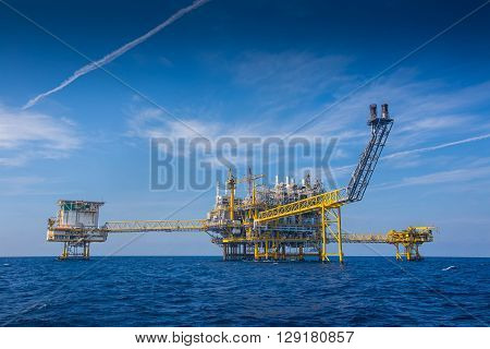 Oil and gas production platform to separates oil gas and condensate and sent condensate to storage boat,tanker,and gas compressed and sent to on refinery and the last one water injected to water reservoir.