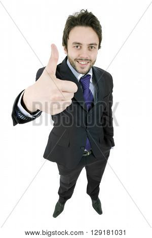 young businessman full body going thumb up, isolated on white background