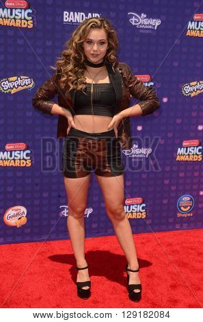LOS ANGELES - APR 29:  Brec Bassinger at the 2016 Radio Disney Music Awards at the Microsoft Theater on April 29, 2016 in Los Angeles, CA