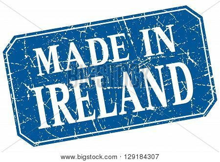 made in Ireland blue square grunge stamp