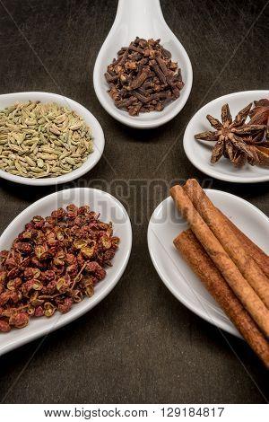 Five Spice Spoon Circle Cinnamon And Szechuan Peppercorns