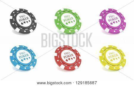 Casino chips set isolated on white bacgkround. 3d illustration