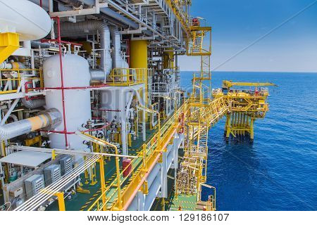 Oil and gas industry processing platform produced gas and condensate then sent to onshore refinery and petrochemical plant.
