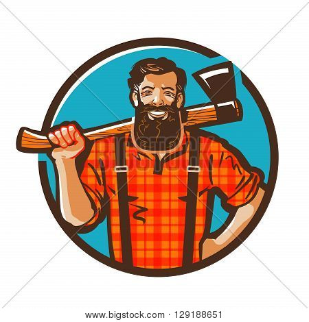 woodcutter vector logo. lumberjack or carpenter icon