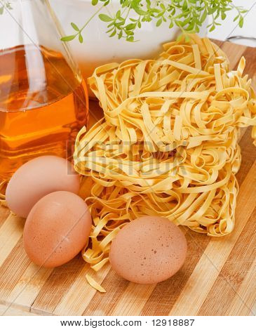 noodles and eggs on the table