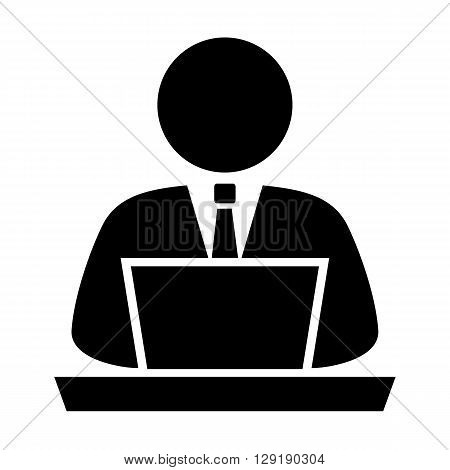 Person using computer vector icon isolated on white background