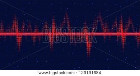 Sound waves oscillating glow, neon light.  Abstract technology background , vector illustration