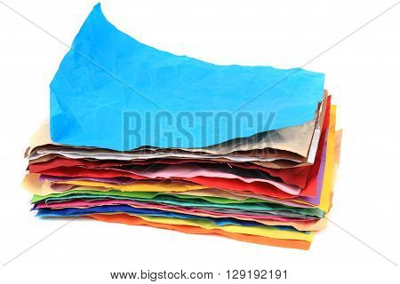 crumpled color papers isolated on the white background