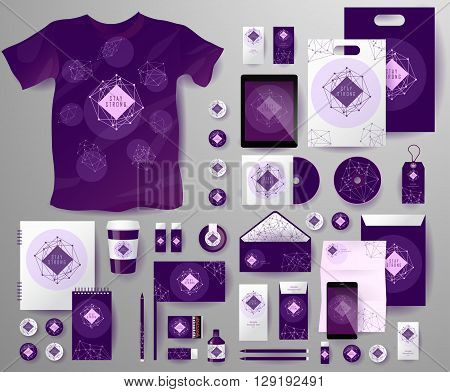 Abstract  business set in cosmic polygonal style. Corporate identity templates, notebook, card, flag, T-shirt, disk, package,  label, envelope, pen, Tablet PC, Mobile Phone, matches, ink, pencil