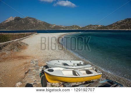 Boats at Agios Pablos beach, Amorgos, Cyclades, Greece