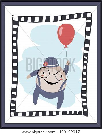 Humpty Dumpty with balloon card. Applied for print cards etc.