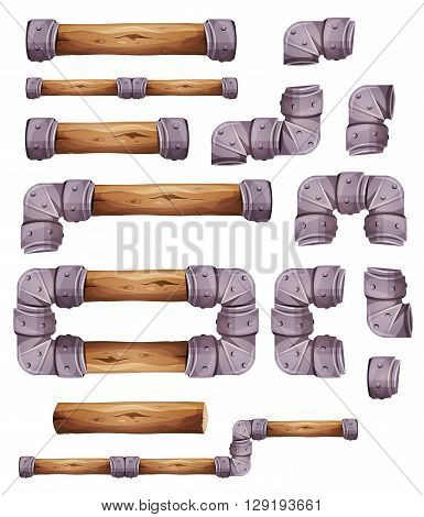 Illustration of a set of graphic wood and metal elements for platform game user interface design in cartoon style