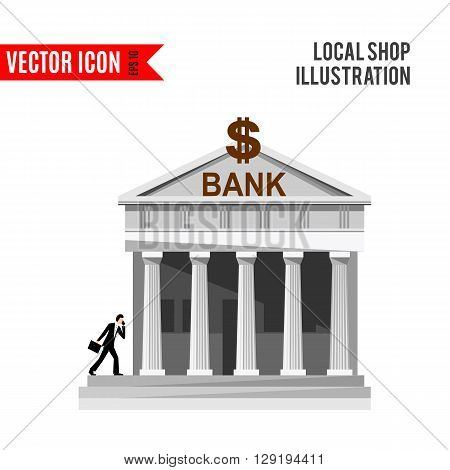 Bank detailed flat design icon isolated on white background. Vector illustration for shop with columns. Grey banking building. Local street market. Modern front store. Cartoon facade
