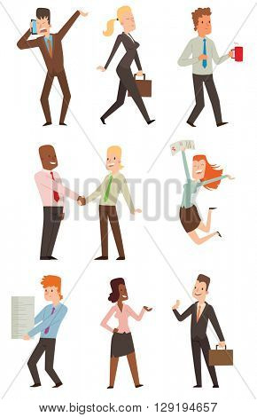 Group of smiling business people. Isolated business people. Collection of full length portraits business people and vector set business people characters. Business people team character.