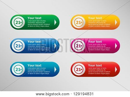21 Plus Years Old Sign. Adults Content Icon And Infographic Design Template