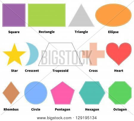 Basic shapes for kids. Learn 2D shapes. Isolated on white background. Design elements for children
