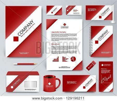 Professional universal branding design kit. White tape, ribbon on red backdrop. Corporate identity template. Business stationery mockup. Editable vector illustration: folder, mug, etc.